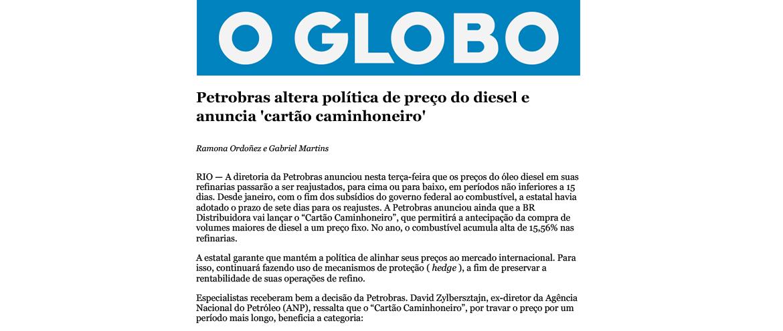 Petrobras altera política de preço do diesel e anuncia 'cartão caminhoneiro'