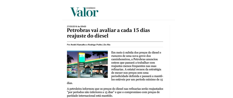 Petrobras vai avaliar a cada 15 dias reajuste do diesel