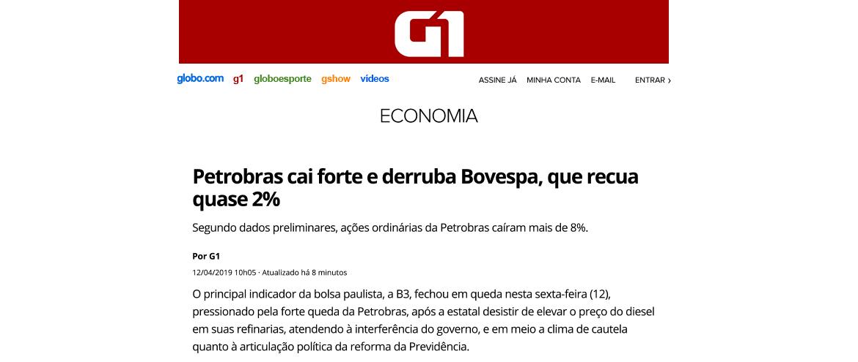 Petrobras cai forte e derruba Bovespa, que recua quase 2%