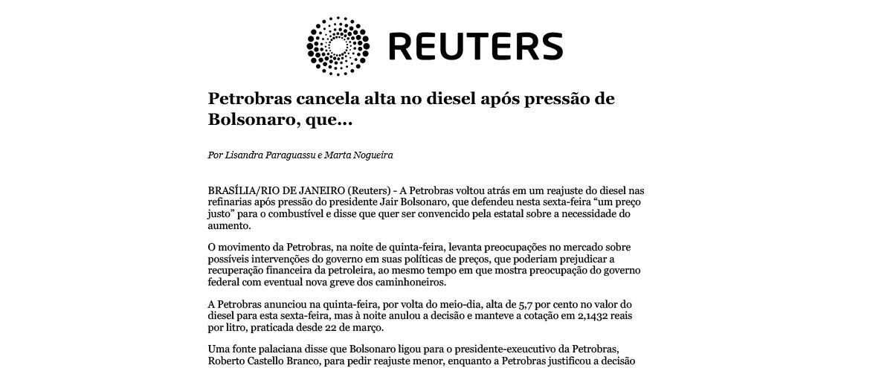 """Petrobras cancela alta no diesel após pressão de Bolsonaro, que pede """"preço justo"""""""